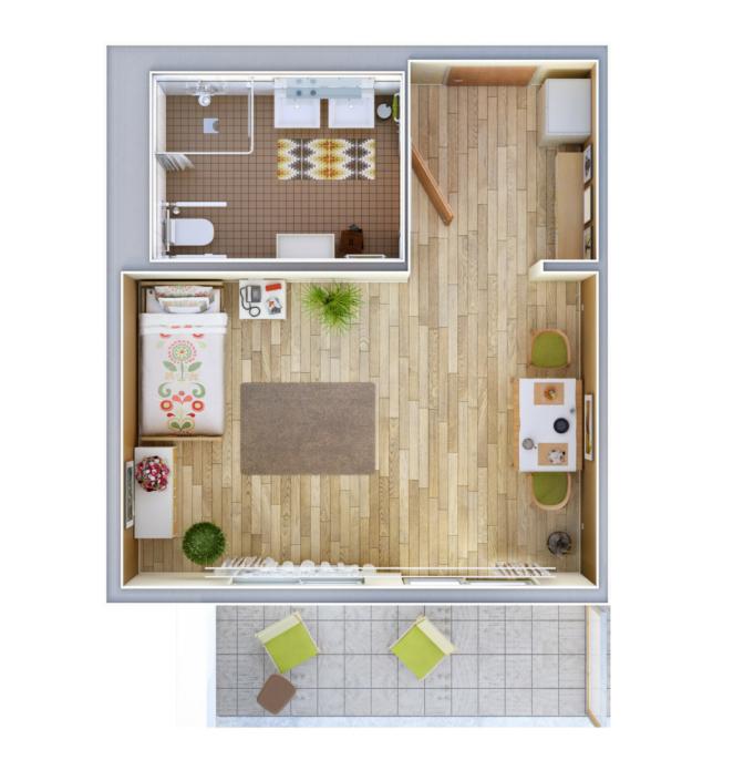 Einbett-Appartement